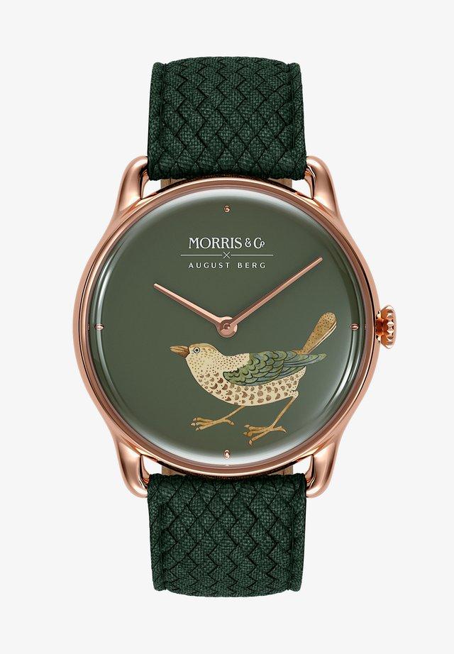 UHR MORRIS & CO ROSE GOLD BIRD GREEN PERLON 38MM - Horloge - crimson