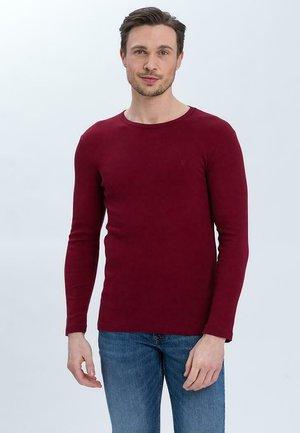 Long sleeved top - bordowy