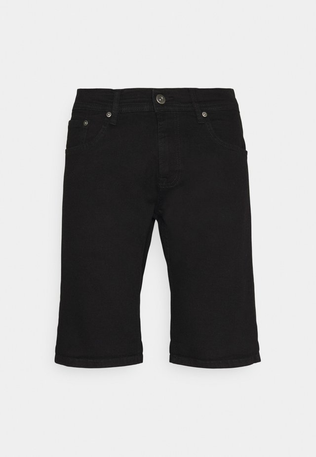 REGULAR FIT STRETCH - Denim shorts - clean black