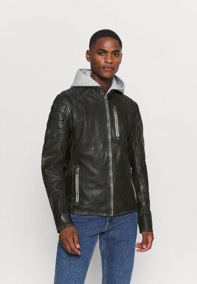 HALOW - Leather jacket - black