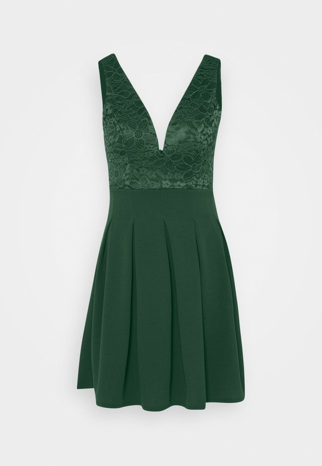 PLEATED SKATER DRESS - Jersey dress - forest green