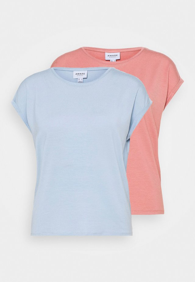 VMAVA PLAIN 2PACK - T-shirt basic - blue fog/old rose