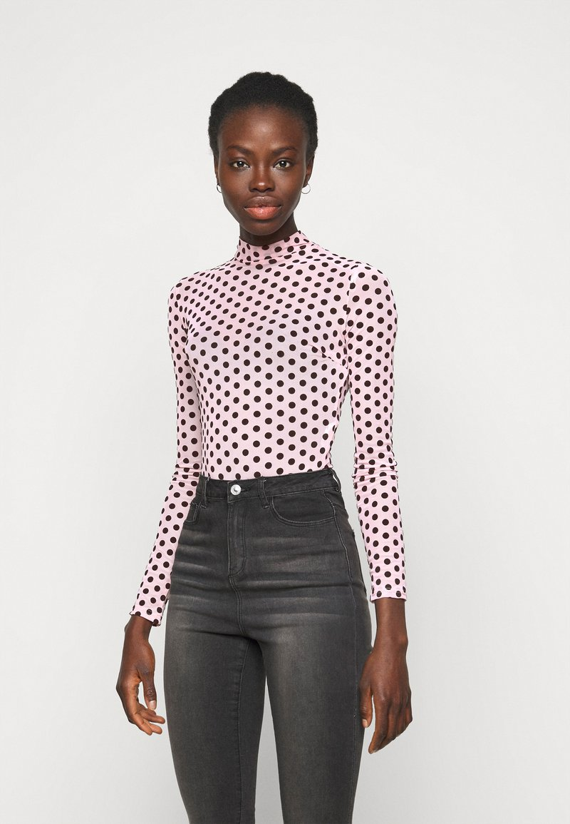 Missguided Tall - FLOCKED SPOT - Long sleeved top - baby pink