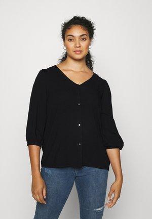 CARDAZZ V NECK SHIRT SOLID - Long sleeved top - black