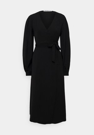 PUFF SLEEVE OVERLAP DRESS - Day dress - black