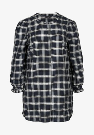WITH A CHECKED PRINT - Tunic - blue