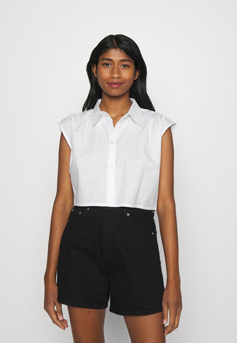 Monki - Button-down blouse - white solid