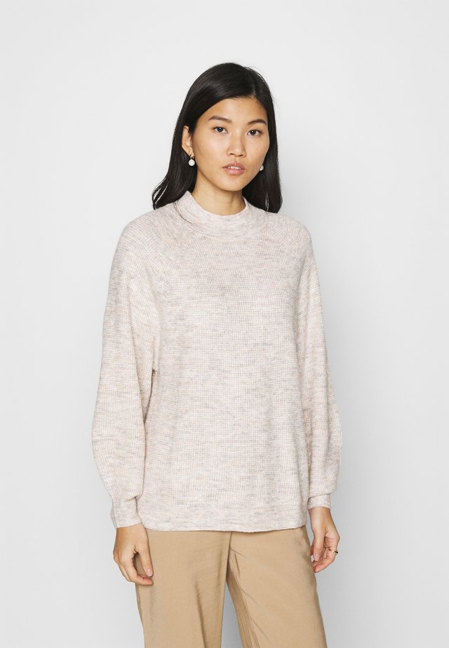 WAFFLE STITCH MOCK AIRY - Strickpullover - oatmeal heather