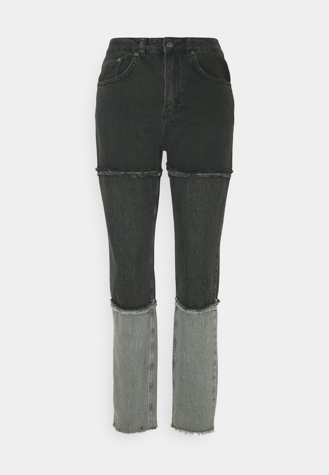 PANEL MOM FRAY SEAMS - Straight leg jeans - charcoal/grey