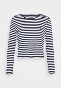 Tommy Jeans - STRIPED CROP LONGSLEEVE - T-shirt à manches longues - twilight navy/white - 4