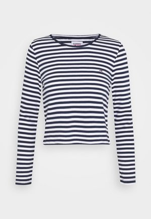 STRIPED CROP LONGSLEEVE - T-shirt à manches longues - twilight navy/white