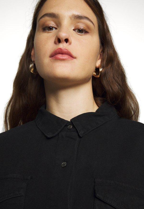 Missguided Plus BOYFRIEND FIT OVERSIZED SHIRT - Koszula - black/czarny denim OSBP