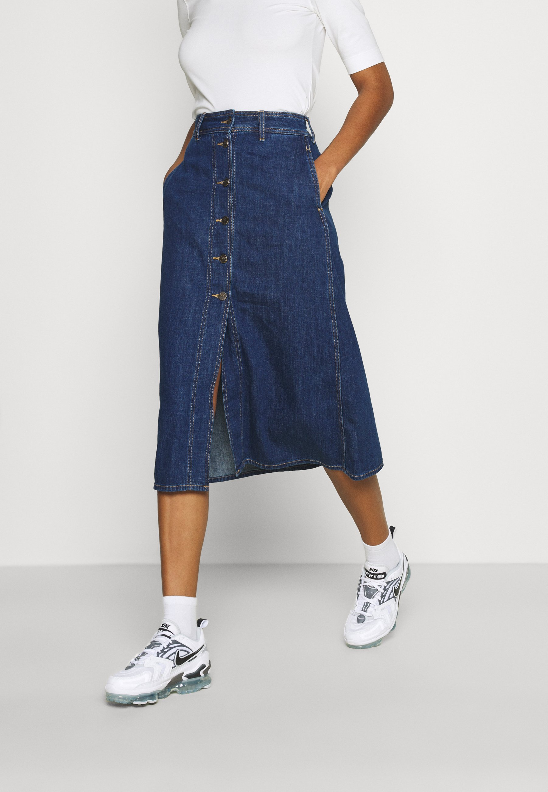 Femme BUTTON THROUGH LONG - Jupe en jean