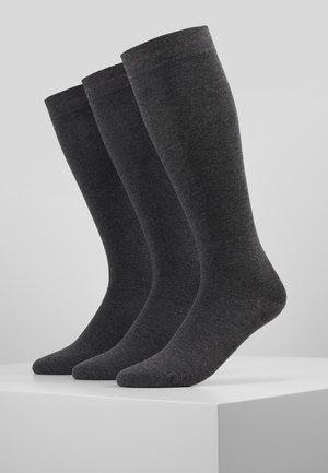 WOMEN SOFT KNEEHIGHS 3 PACK - Knee high socks - dark grey melange