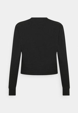 CROP LINEAR DRAWCORD HEM - Long sleeved top - black