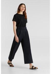 Esprit Collection - FASHION CULOTTE - Trousers - black - 1