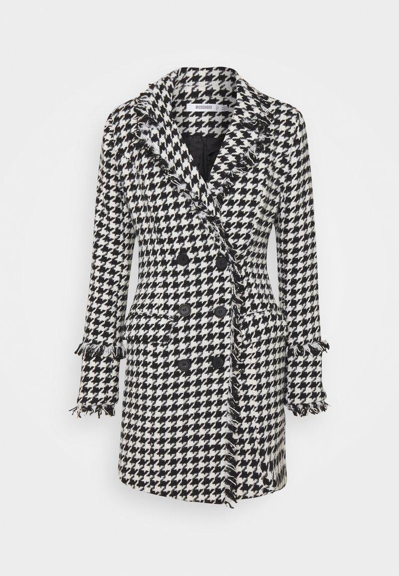 Missguided - TAILORED BLAZER DRESS HOUNDSTOOTH - Kjole - white