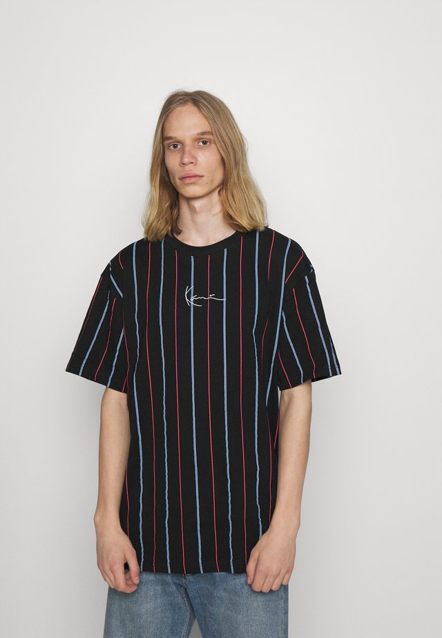 SMALL SIGNATURE PINSTRIPE TEE - Camiseta estampada - black