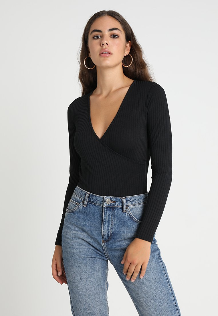 New Look - CARLY LONG SLEEVE WRAP BODY - Camiseta de manga larga - black