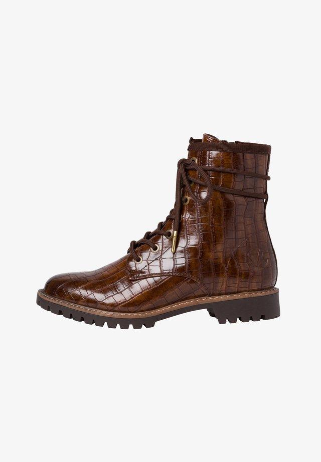 Lace-up ankle boots - cognac croco