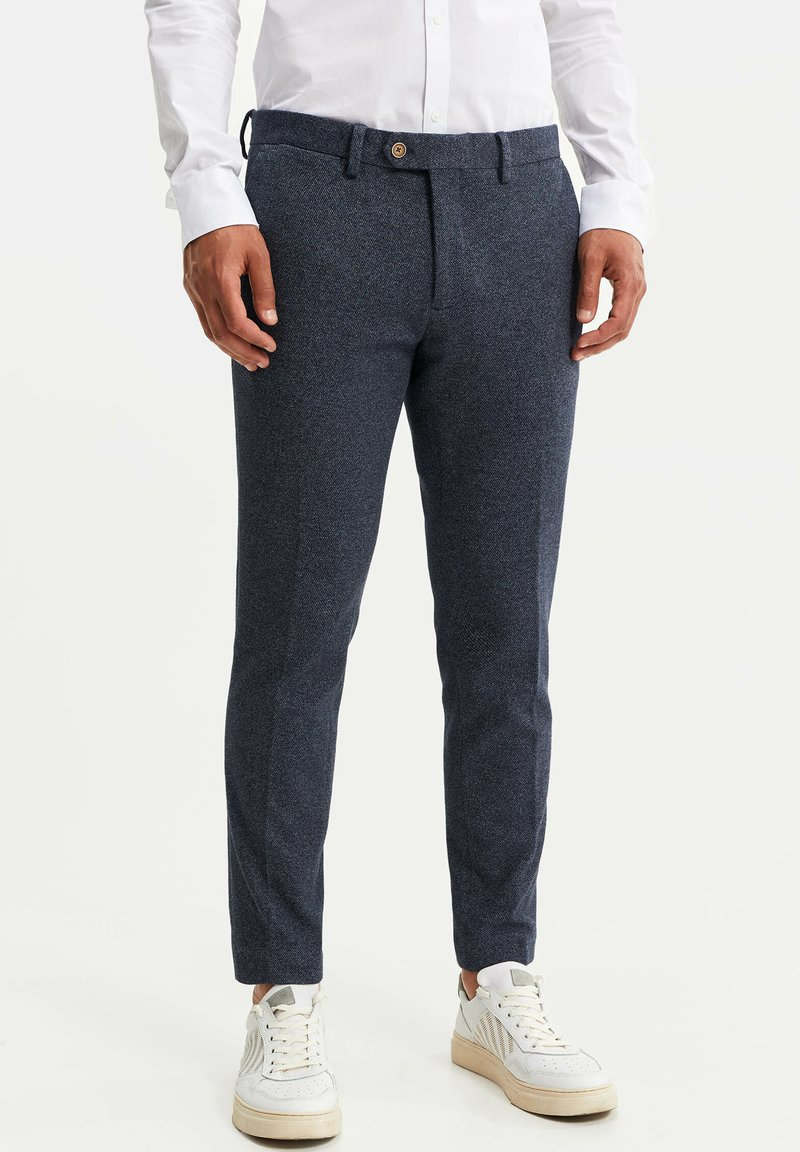 WE Fashion - HEREN SLIM FIT PANTALON - Trousers - dark blue