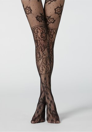 MIT PATCHWORK-BLUMENMUSTER - Tights - schwarz - black fishnet patchwork flowers