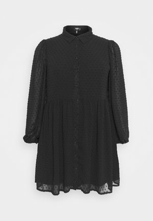 DOBBY SPOT SMOCK DRESS - Shirt dress - black