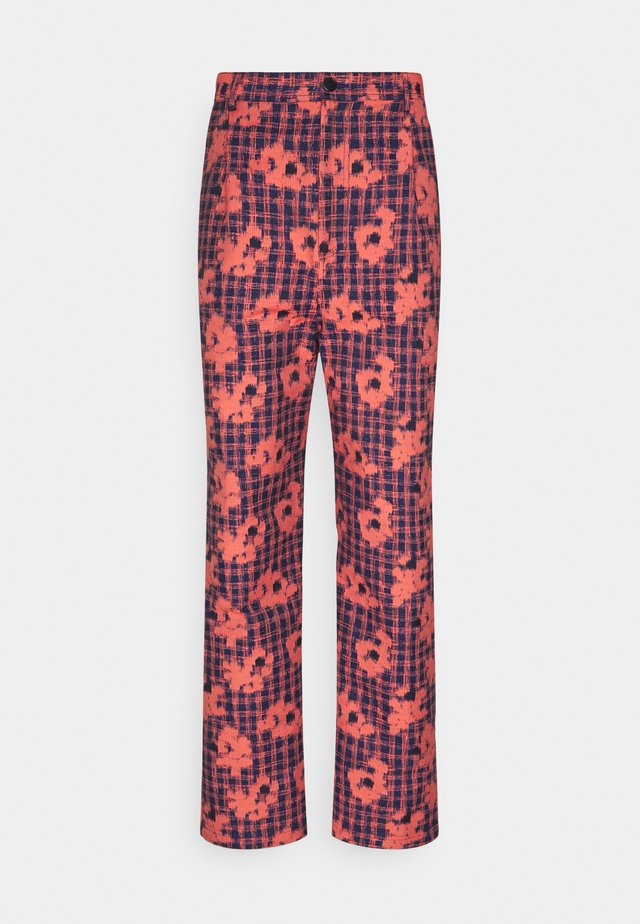 PIANO PANTS - Kalhoty - orange/blue