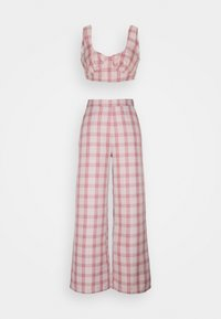 Missguided Petite - GINGHAM BRALET AND WIDE LEG SET - Top - pink - 0