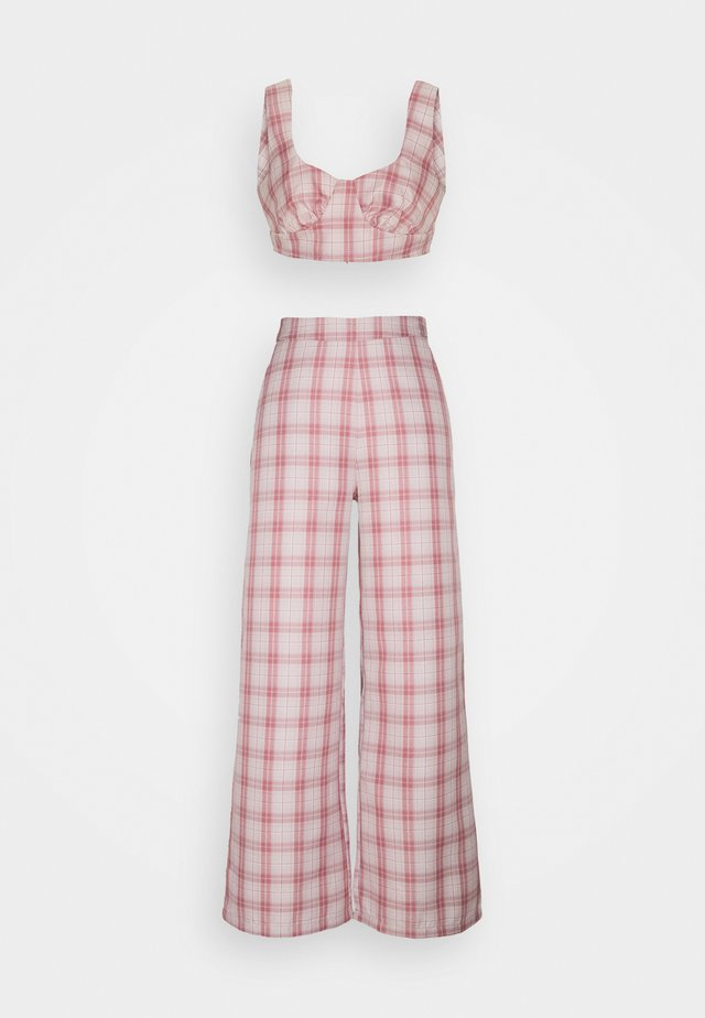 GINGHAM BRALET AND WIDE LEG SET - Toppe - pink