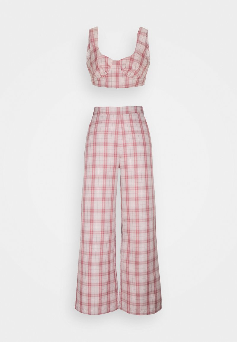 Missguided Petite - GINGHAM BRALET AND WIDE LEG SET - Top - pink