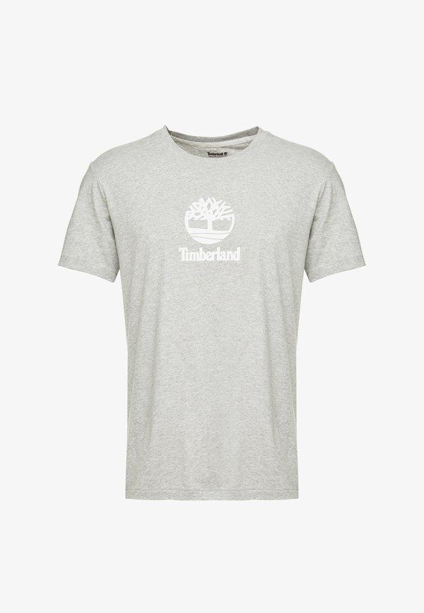 Timberland STACK LOGO TEE - T-shirt z nadrukiem - medium grey heather/szary melanż Odzież Męska HNOL