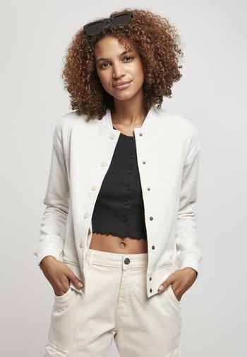 LADIES INSET COLLEGE JACKET - Zip-up sweatshirt - lightgrey/white