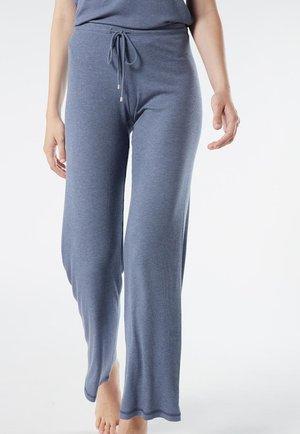 GERIPPTE HOSE MIT WEITEM BEIN AUS MODALMIX - Pyjama bottoms - soft avio mel