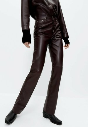 Leather trousers - bordeaux