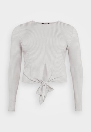 TIE FRONT - Long sleeved top - grey marl