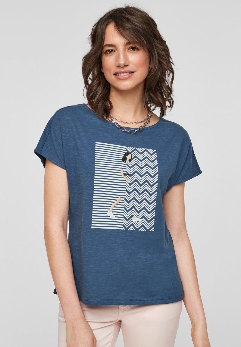 s.Oliver - Print T-shirt - faded blue