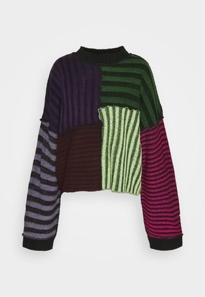 STRIPE PLATED PANELLED JUMPER - Strikpullover /Striktrøjer - multi