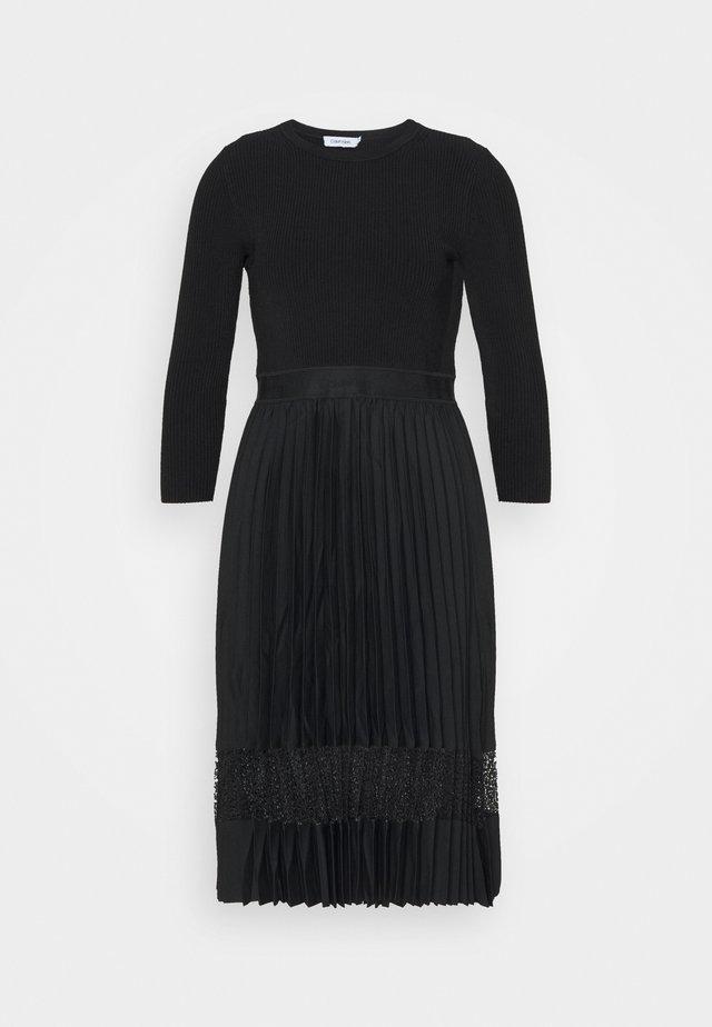 MIX MEDIA PLEATED DRESS - Day dress - black