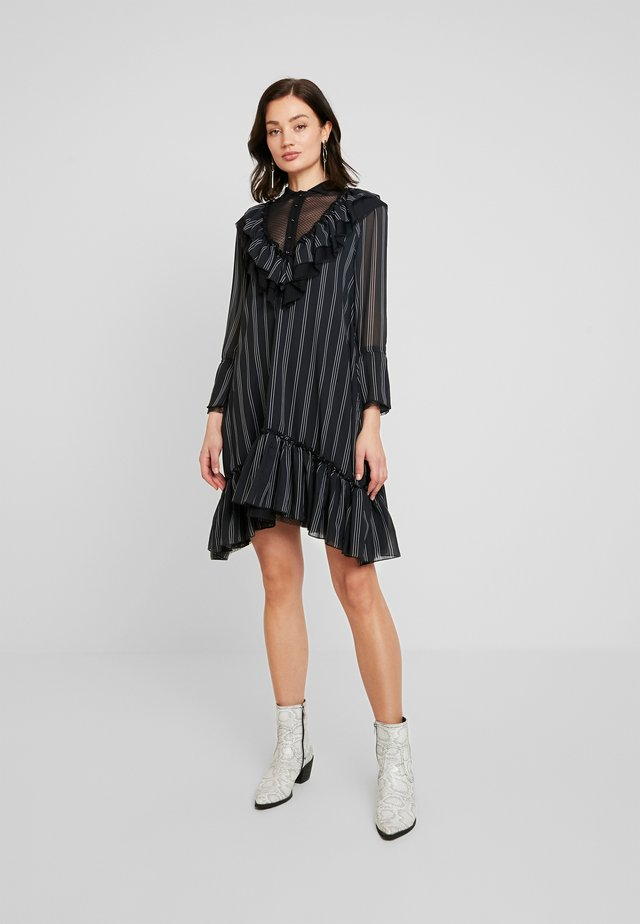 HEAVY NECKING DRESS - Shirt dress - noir combo