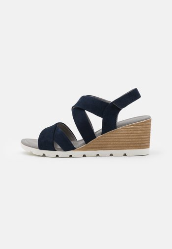 LEATHER - Wedge sandals - blue
