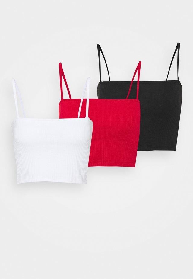 STRAIGHT NECK BRALET 3 PACK  - Top - black/white/red
