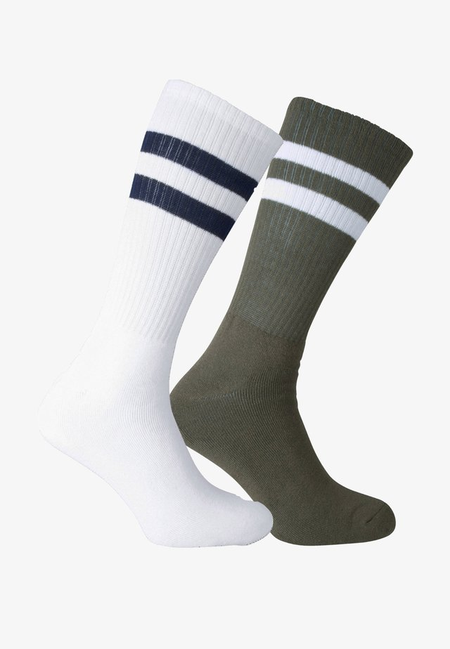 2 PACK - Sports socks - weiss, oliv