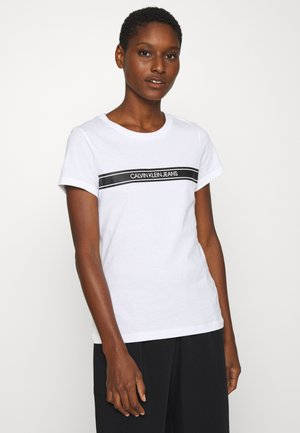 STRIPE SLIM TEE - Print T-shirt - bright white