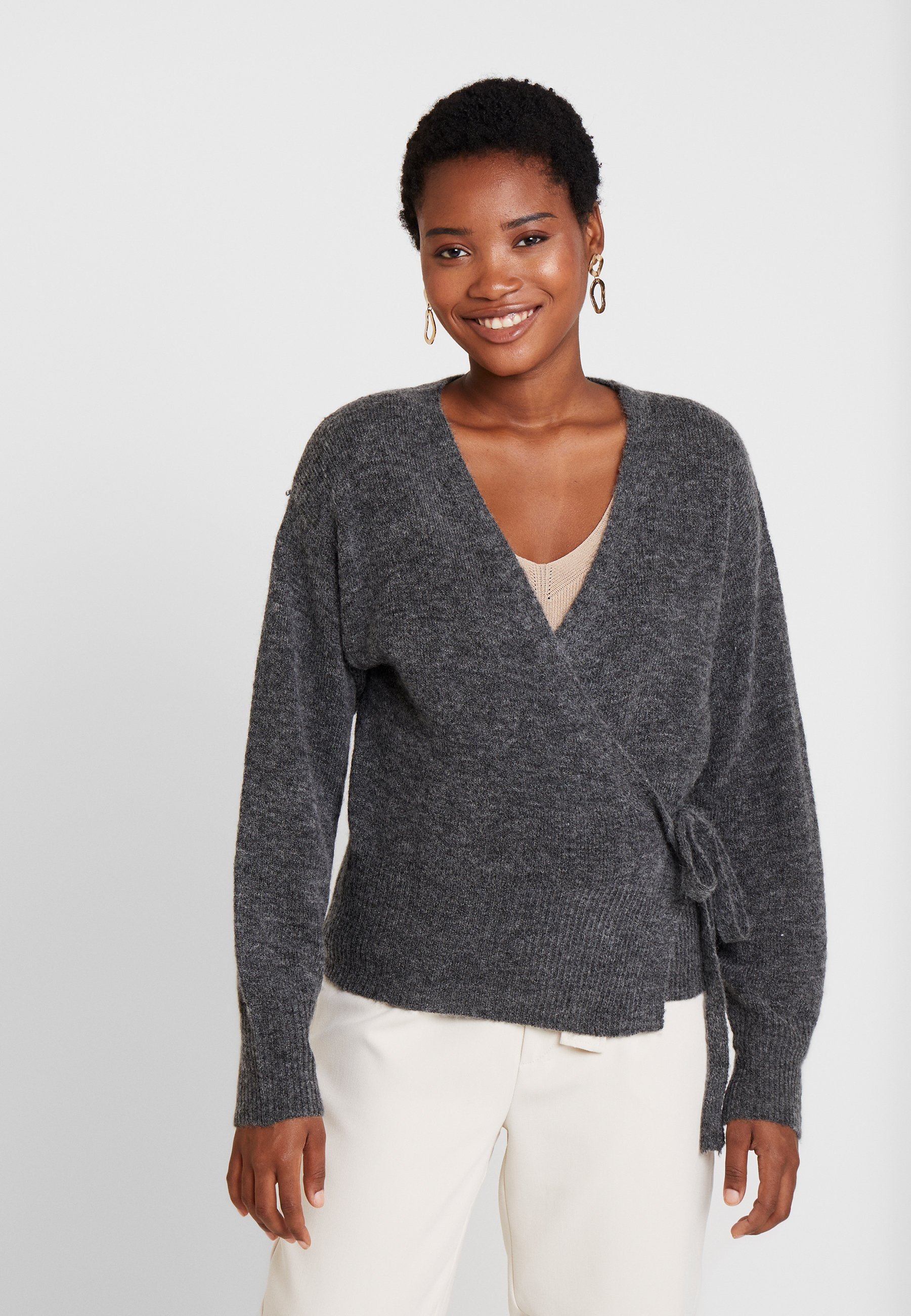 KAWENDY WRAP CARDIGAN Strikjakke Cardigans dark grey melange