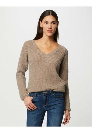 LONG-SLEEVED JUMPER WITH V-NECK - Pullover - taupe