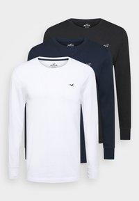 CREW MULTI 3 PACK - Long sleeved top - white/dark blue/black