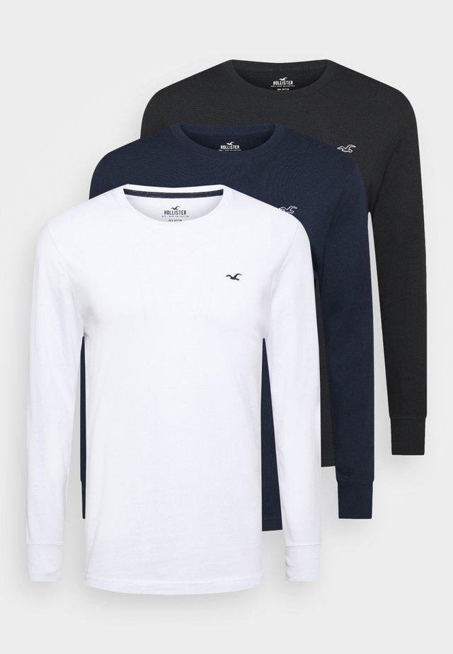 CREW MULTI 3 PACK - Pyjama top - white/dark blue/black