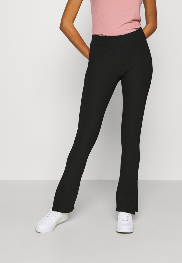 SPLIT FRONT FLARES - Legging - black