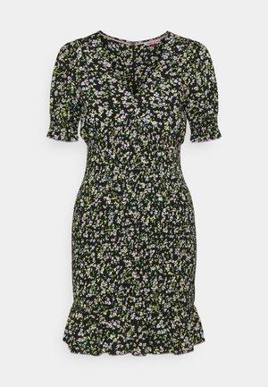 SMOCK BODY FLORAL DRESS - Day dress - black/green